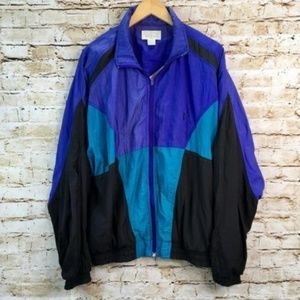 Vtg 80s 90s Bill Blass Track Jacket Windbreaker